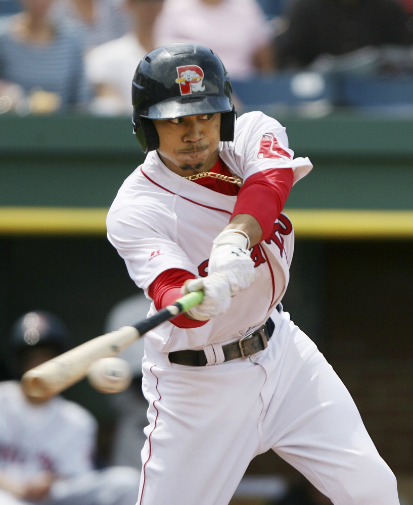 Mookie Betts showed his promise with the Portland Sea Dogs this season. He was quickly promoted to Pawtucket and is in a Red Sox uniform for Saturday's game against the Yankees.