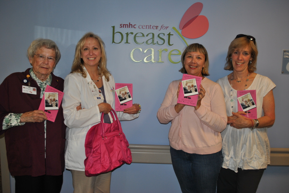 "Project Pink donated 100 copies of the late Ann Murray Paige's book ""Pink Tips"" to Southern Maine Health Care's Center for Breast Care. The books will be given to newly diagnosed patients. From left are SMHC volunteer Joan Junker, SMHC nurse navigator Helene Langley, Project Pink co-founder Leslie Roberts and Ellen Murray, sister of Ann Murray Paige. Photo courtesy Leslie Roberts"