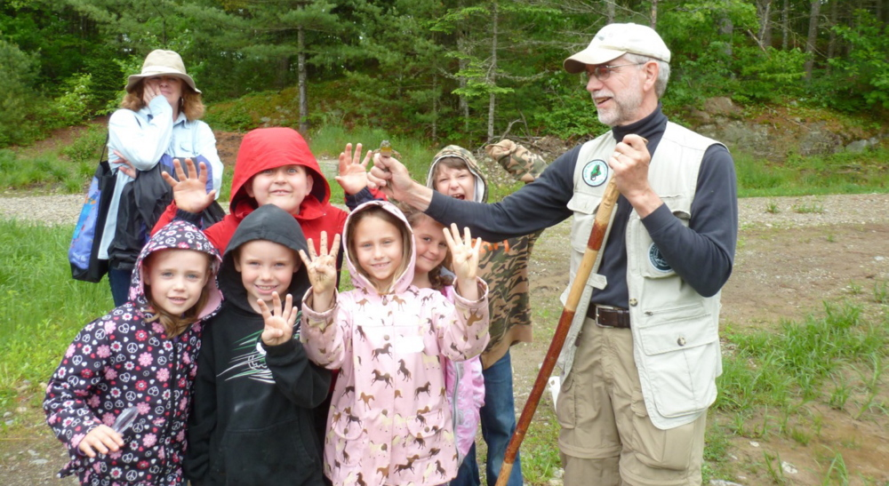 Students from Great Salt Bay Community School in Damariscotta enjoy a field trip with Hidden Valley Nature Center volunteer educator Chuck Dinsmore, far right. The center recently received a $10,500 grant to continue offering nature education initiatives with students at the Great Bay School as well as Whitefield Elementary School.