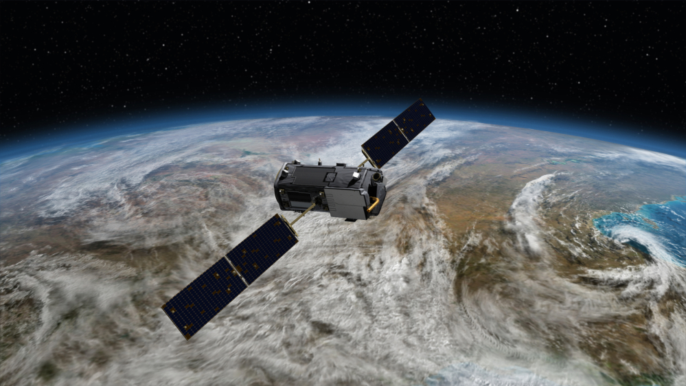 This artist's concept provided by NASA shows the Orbiting Carbon Observatory, or OCO-2, which will launch from Vandenberg Air Force Base, Calif., on July 1. It will orbit the Earth every 100 minutes as it measures carbon dioxide levels.