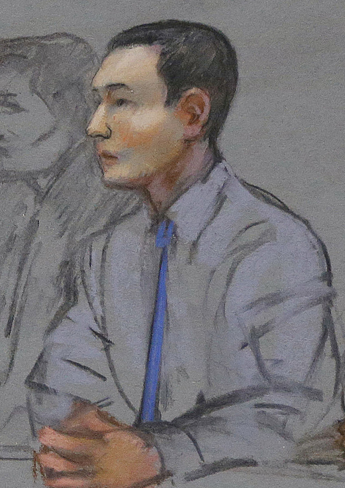 A May 13, 2014, courtroom sketch of defendant Azamat Tazhayakov, a college friend of Boston Marathon bombing suspect Dzhokhar Tsarnaev. Tazhayakov, of Kazakhstan, is accused with another friend of removing items from Tsarnaev's dorm room, but is not charged with participating in the bombing or knowing about it in advance.