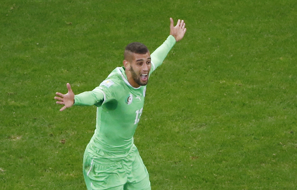Algeria's Islam Slimani reacts after his goal was disallowed during the World Cup round of 16 soccer match.