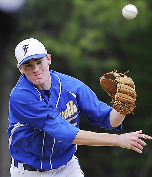 "Will D'Agostino's defense at shortstop is a big reason Falmouth has won nine straight. ""I feel Will is the best defensive shortstop I've seen in southern Maine,"" says his coach, Kevin Winship. Gordon Chibroski/Staff photographer"