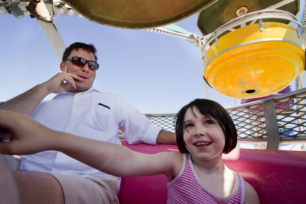 Tony Hanson and his daughter Amelia Hanson, 5 of Westbrook, ride the Ferris wheel near Commercial Street during the 2014 Old Port Festival in Portland on Saturday, June 7, 2014. Carl D. Walsh/Staff Photographer