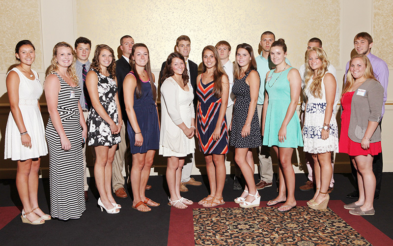 Winner of the 27th Annual All-Sports Awards pose following the ceremony Sunday. Front row, left to right, Grace O'Donnell, of Yarmouth, Alyssa Williamson, of Scarboroughl, Kate Hall, of Lake Region, Allie Clement, of McAuley, Jenna Hallett, of Presque Isle, Megan Tamarro, of Falmouth, Taylor Simpson, of York, Emma Waddell, of Bangorl, Cassie Symonds, of Windham, and Elise Luce, of Mt. Abram. Back row, left to right, Braden Becker, of Yarmouth, Ben Greenburg, of Scarborough, IV Stucker or Falmouth, Cody Hughes, of Marshwood, Ben Lucas, of Cony, Josef Holt-Andrews, of Telstar, and Eric Delmonte, of Deering. Joel Page/Staff Photographer