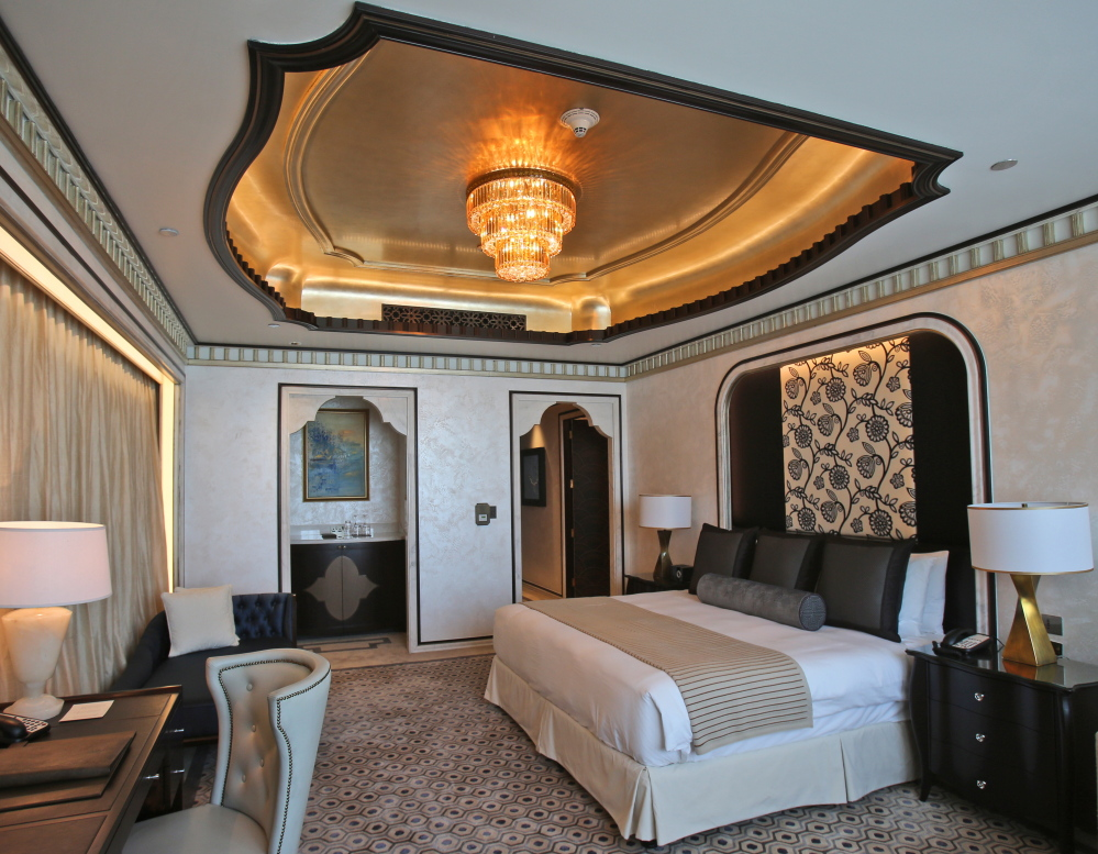 One of the three bedrooms in the Abu Dhabi Suite at the St. Regis in Abu Dhabi, United Arab Emirates. The nearly 24,000-square-foot two-story suite, with a nightly rate of $21,500, is suspended 720 feet above ground between the two buildings of the Nation Towers development. Photos by The Associated Press