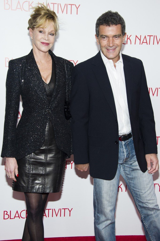 "Melanie Griffith and Antonio Banderas attend the ""Black Nativity"" in New York in this file photo. The Associated Press"