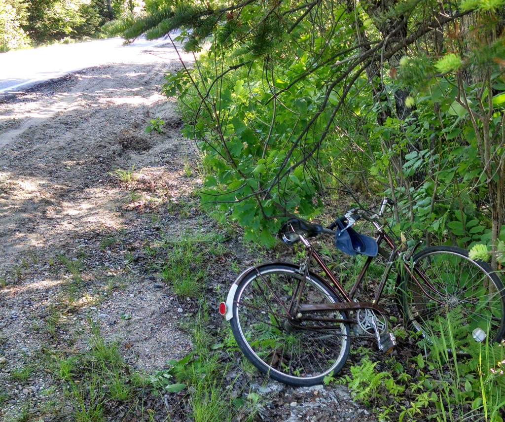 The bicycle of Bradford Lanoue of Denmark lies off Route 302 after he crashed in Fryeburg on Friday.