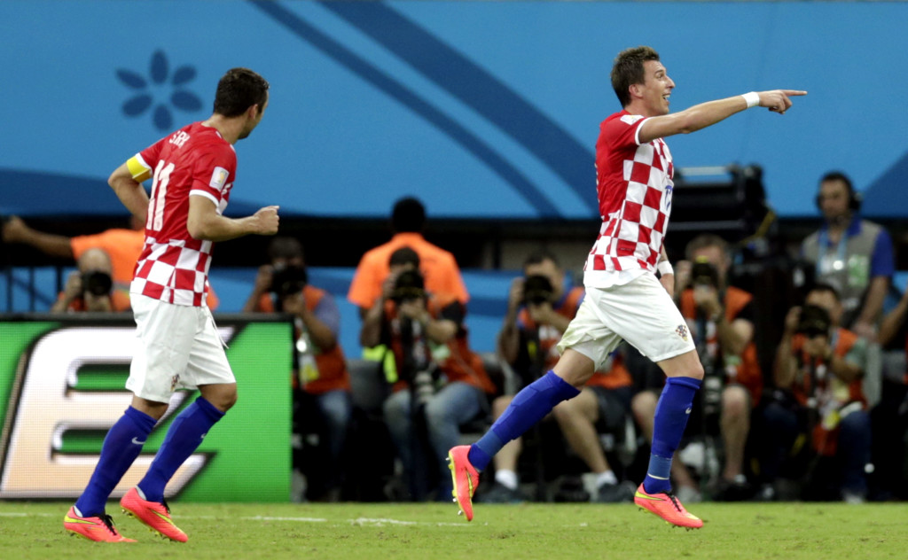 Croatia's Mario Mandzukic celebrates after scoring his side's third goal.
