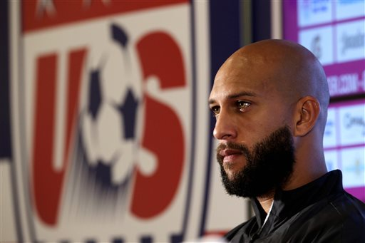 U.S. goalkeeper Tim Howard talks to reporters before a training session in Sao Paulo, Brazil, on Saturday. The U.S. will play Belgium on Tuesday in the round 16 of the 2014 soccer World Cup. The Associated Press