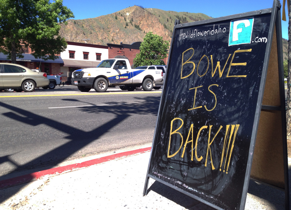 A sign celebrates the release of Sgt. Bowe Bergdahl in his hometown of Hailey, Idaho, on Wednesday. The Associated Press