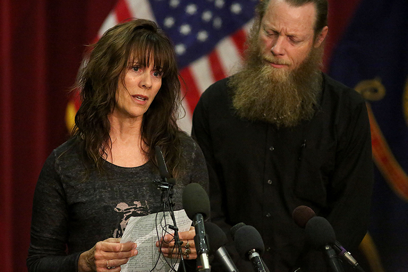 Jani and Bob Bergdahl, the parents of U.S. Army Sgt. Bowe Bergdahl, speak during a press conference at Gowen Field on Sunday, in Boise, Idaho. The Associated Press