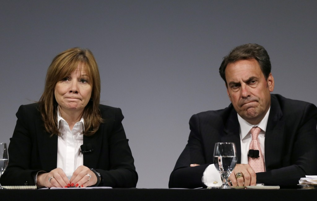 General Motors CEO Mary Barra and Executive Vice President Mark Reuss hold a news conference n Warren, Mich., Thursday.  The Associated Press