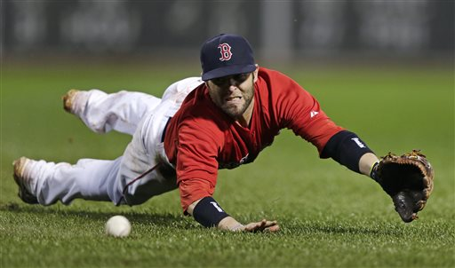 Red Sox second baseman Dustin Pedroia dives to make the play on a ground out by Cleveland Indians' Lonnie Chisenhall in the sixth inning at Fenway Park in Boston on Friday. The Associated Press