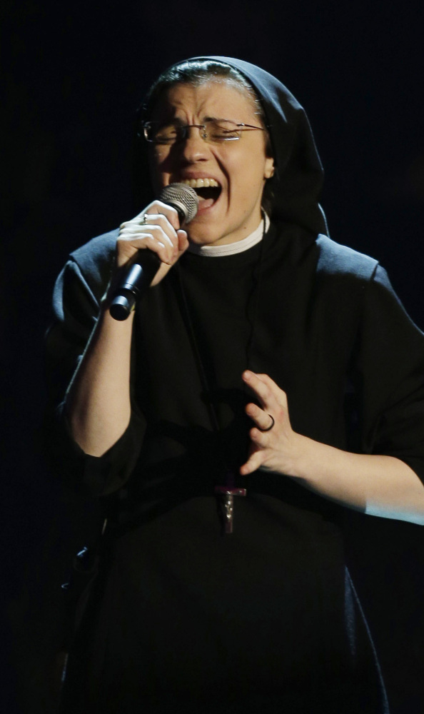 "The Associated Press Sister Cristina Scuccia performs during the Italian version of ""The Voice"" TV talent show in Milan, Italy."
