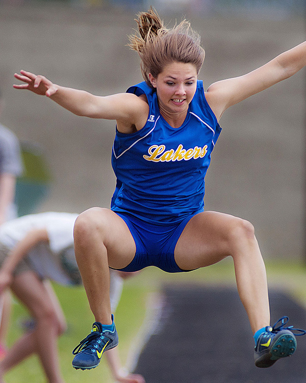 Girls' Outdoor Track: Kate Hall from Lake Region High School.