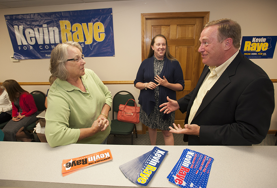 """I'm tired but energized."" said Kevin Raye, right, as he greets Gail Kelly of Brewer at his campaign headquarters in Bangor just minutes after the polls closed on Tuesday. Kevin Bennett Photo"