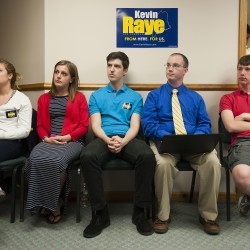 Kevin Raye supporters listen as Raye tells them the poll trends are not in his favor during a short speech at his campaign headquarters. Kevin Bennett photo