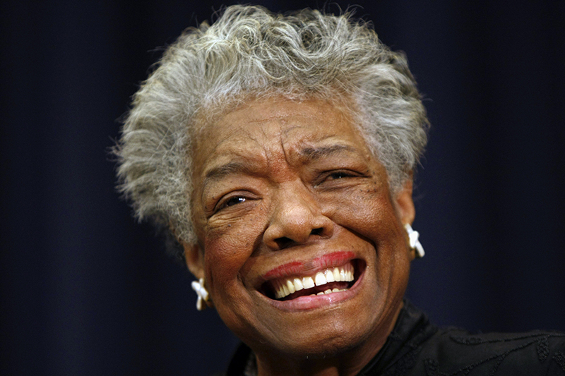 This Nov. 21, 2008 file photo shows poet Maya Angelou smiling in Washington. The Associated Press