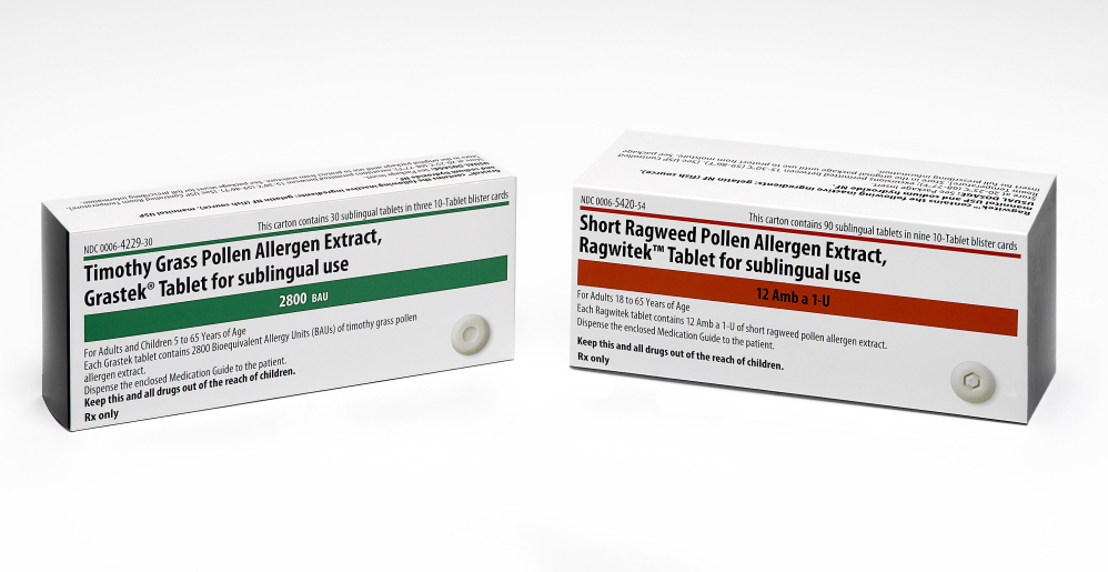 This product image provided by Merck shows the packaging for newly FDA-approved allergy medications Grastek, left, and Ragwitek. Grastek is used in the treatment of diagnosed Timothy grass pollen induced allergic rhinitis, with or without conjunctivitis, in adults and children 5 years of age and older. Ragwitek is indicated as immunotherapy for diagnosed ragweed pollen induced allergic rhinitis, with or without conjunctivitis, in adults 18 years of age and older. The Associated Press