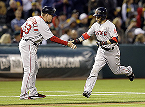 Red Sox second baseman Dustin Pedroia, right, is congratulated by third base coach Brian Butterfield after hitting a two-run home run off Oakland's Scott Kazmir in the sixth inning Thursday in Oakland, Calif. The Associated Press