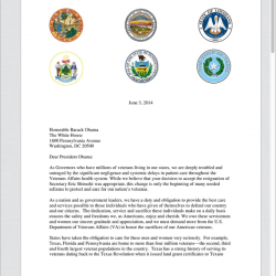 Governors' letter to President Obama