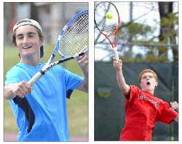 "Conner Sullivan, left, and Jack Tierney are part of the second doubles team at Cape Elizabeth. ""Whomever we play, we never get angry or frustrated with each other,"" said Sullivan. Gordon Chibroski/Staff Photographer"