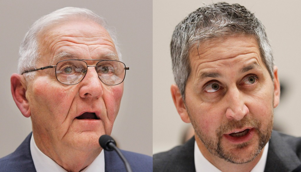 "Quality Egg LLC owner Austin ""Jack"" DeCoster, left, and its chief operating officer, Peter DeCoster. Monday, June 2, 2014 both DeDosters are expected to plead guilty to introducing adulterated food into interstate commerce.(AP Photo/Manuel Balce Ceneta, file)"