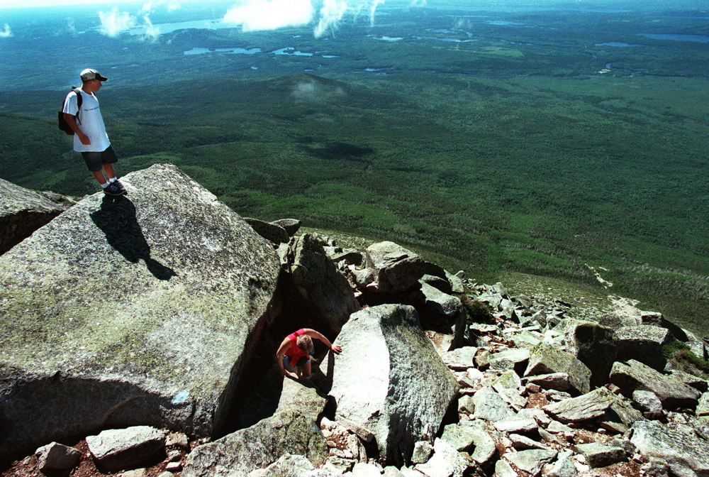 1997 Press Herald File Photo Hikers near the end of the Abol Trail during a climb up Mount Katahdin. The trail was mostly obliterated by a rock slide this spring.