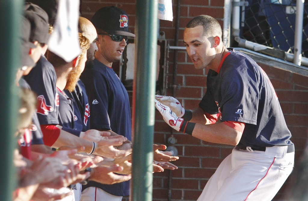Sea Dog shortstop Derrik Gibson greets his teammates after cracking a home run on the first pitch in the first inning against the New Hampshire Fisher Cats on July 11 at Hadlock Field in Portland. Press Herald File Photo/Jill Brady