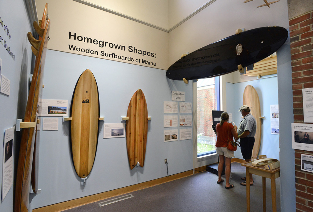"""Home Grown Shapes"" at Maine Maritime Museum in Bath explores the small trend that has woodworkers and surfers turning to wooden boards, after some 60 years of foam dominance."