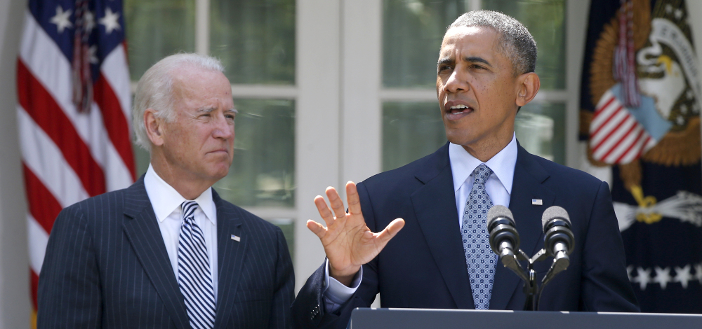 """President Obama, right, with Vice President Joe Biden, speaks about immigration reform on Monday in the Rose Garden at the White House in Washington. The president says he wants to """"fix as much of our immigration system as we can."""""""