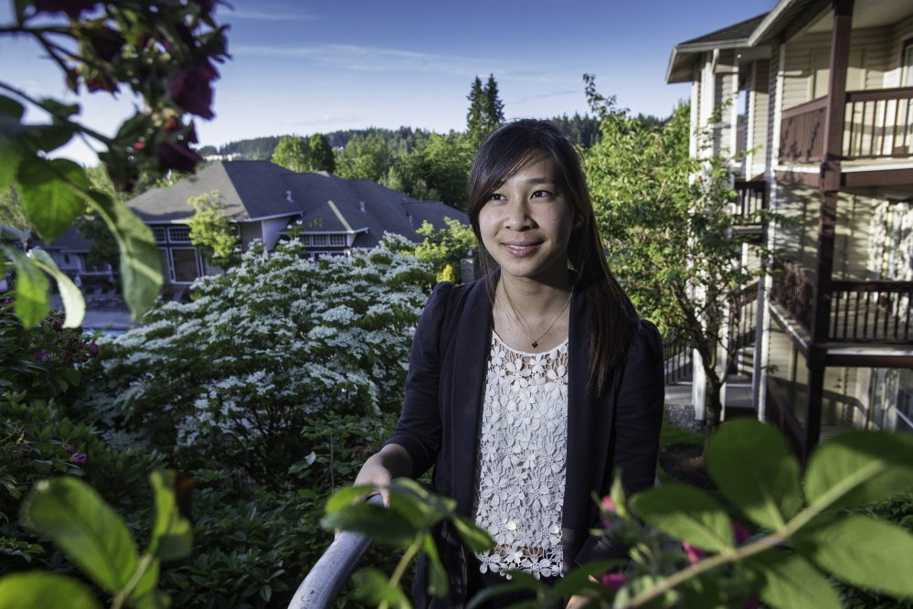 Microsoft intern Lauren Kuan is enjoying the perks of a good summer job with good benefits, including transit, entertainment, and this subsidized apartment in Bothell, Wash.