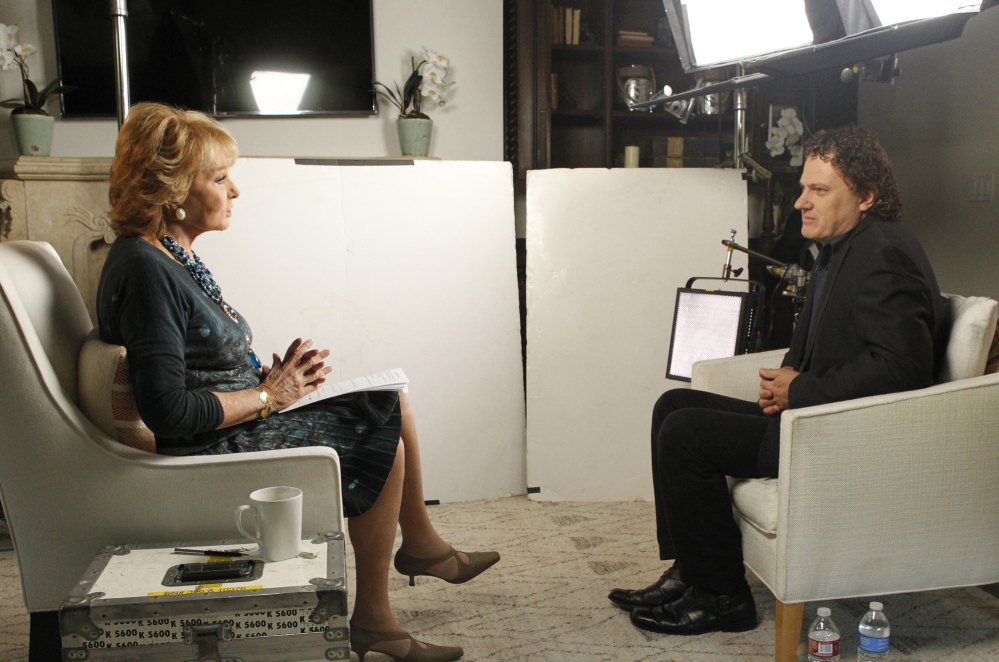 This June 22, 2014 photo provided by ABC shows Barbara Walters, left, during an interview in Los Angeles with Peter Rodger, the father of Elliot Rodger, the 22 year old who killed six people, injured 13, before taking his own life near the campus of the University of California, on May 23, in Santa Barbara, Calif.