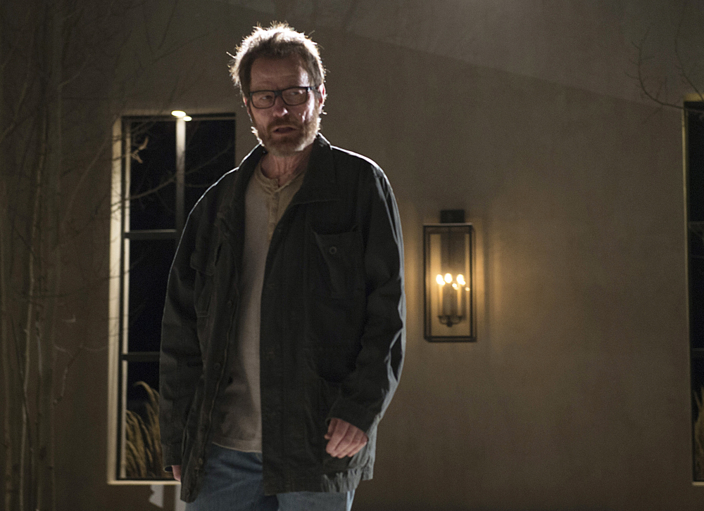 "This image released by AMC shows Bryan Cranston as Walter White in a scene from the series finale of ""Breaking Bad."" AMC said Tuesday that it will fill its Sunday night schedule for nearly two months with reruns of the popular series that starred Cranston, which aired its last original episode in September 2013. Every episode will be shown during the network's ""Breaking Bad Binge."""