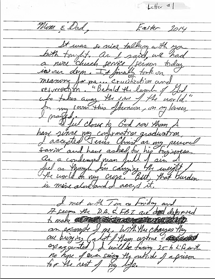 This note was written by Matthew Coniglio to his parents before he allegedly committed suicide on April 20 at the Chatham County Jail in Georgia.