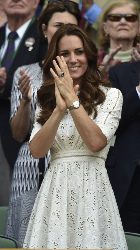 Kate, Duchess of Cambridge watches from the Royal Box on centre court the men's singles quarterfinal match between Grigor Dimitrov of Bulgaria and Andy Murray of Britain.