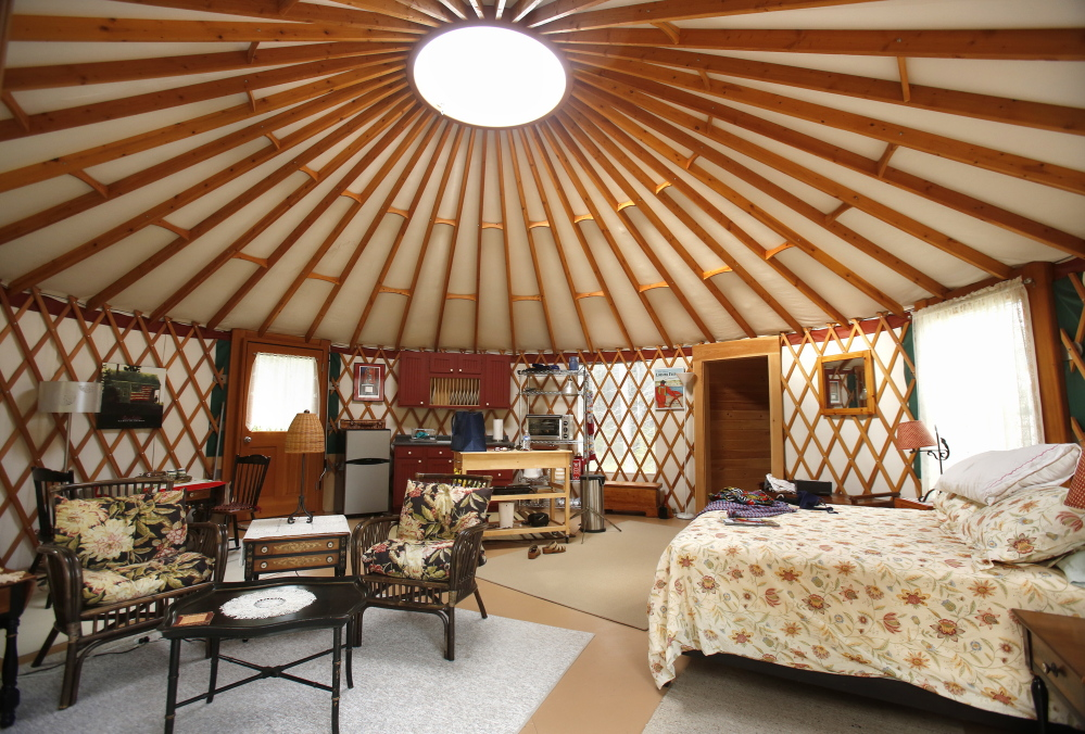 The interior of a yurt in Tenants Harbor where writer Mary Pols stayed overnight. Gregory Rec/Staff Photographer