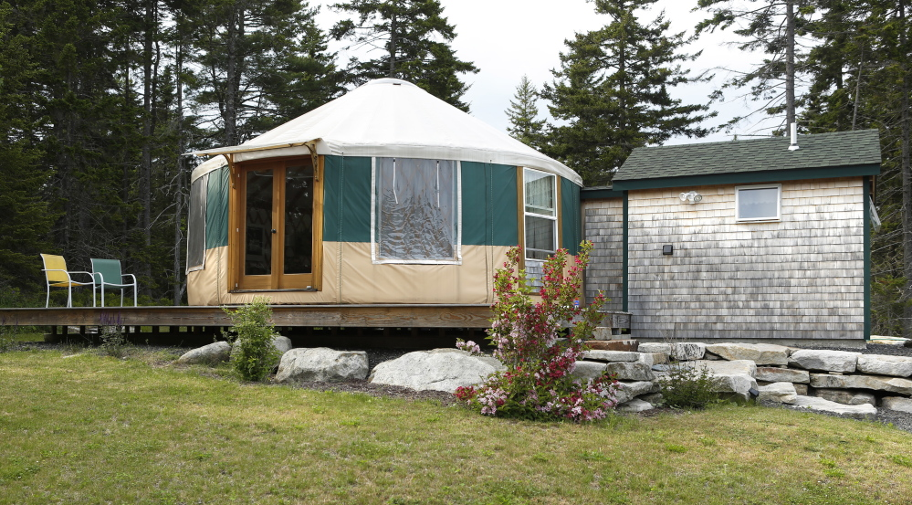 The exterior of the yurt in Tenants Harbor. Gregory Rec/Staff Photographer