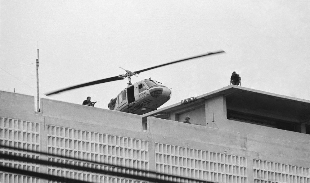 A U.S. Marine helicopter takes off from the American Embassy in Saigon, Vietnam, on April 30, 1975.
