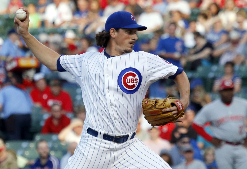 Jeff Samardzija was traded by the Cubs to Oakland on Saturday along with pitcher Jason Hammel, giving the Athletics one of the majors' best group of starting pitchers.