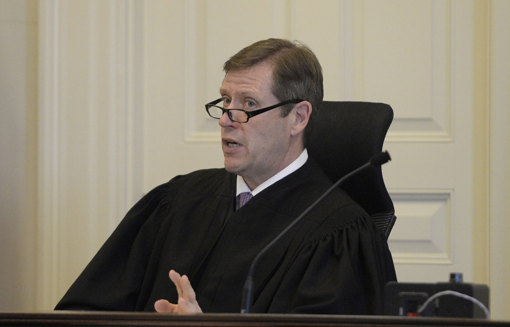 Justice John O'Neil Jr. presides in York County Superior Court. Shawn Patrick Ouellette/Staff Photographer