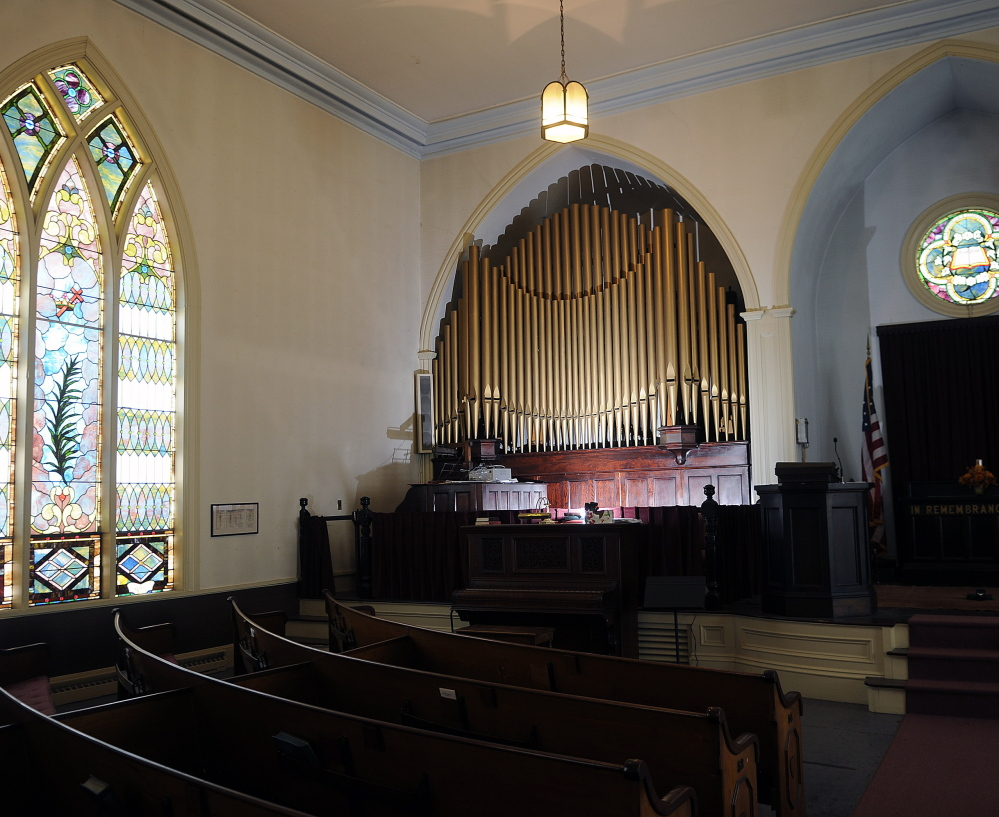 The pipe organ at the former Gardiner Congregational Church would remain even if David Boucher and Kristina Nugent are able to turn the church into a hard-cider brewery.