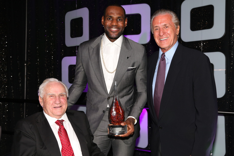 LeBron James of the Miami Heat, poses with Don Shula, left, and Pat Riley, president of the Miami Heat, this year.