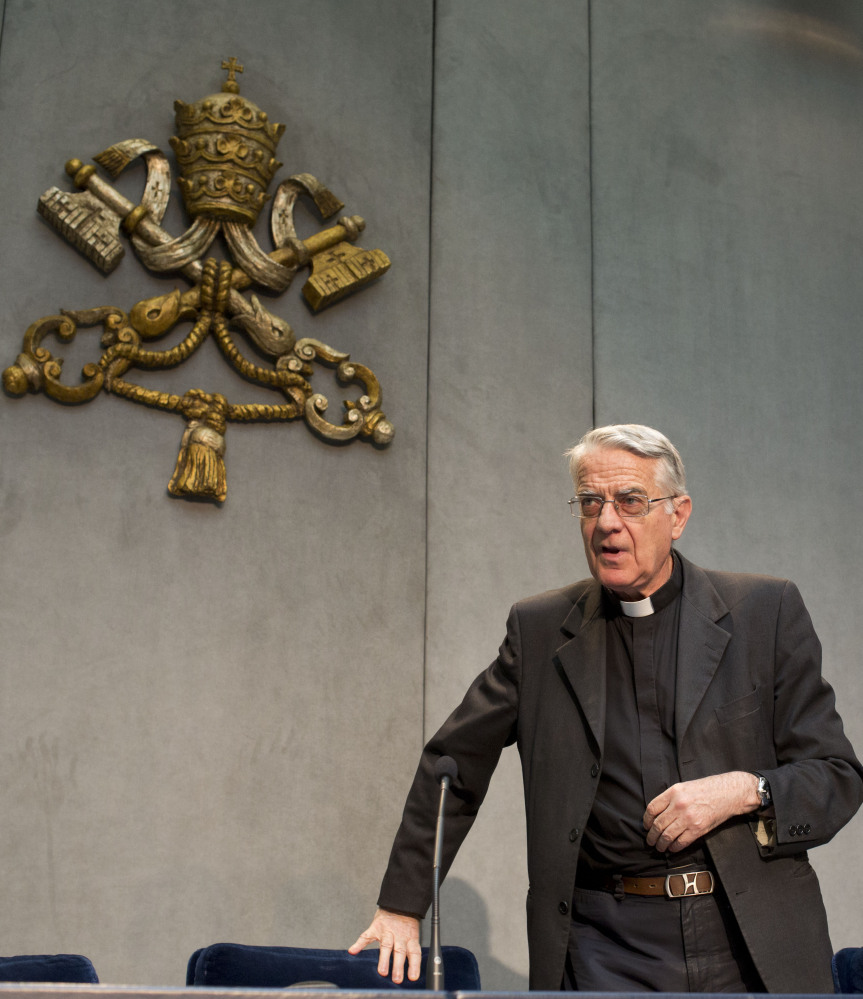 The Rev. Federico Lombardi, Vatican spokesman, arrives for a news conference at the Vatican on Monday. Pope Francis has held his first meeting with Catholics who were sexually abused by clergy. Lombardi said six survivors met privately with the pontiff.