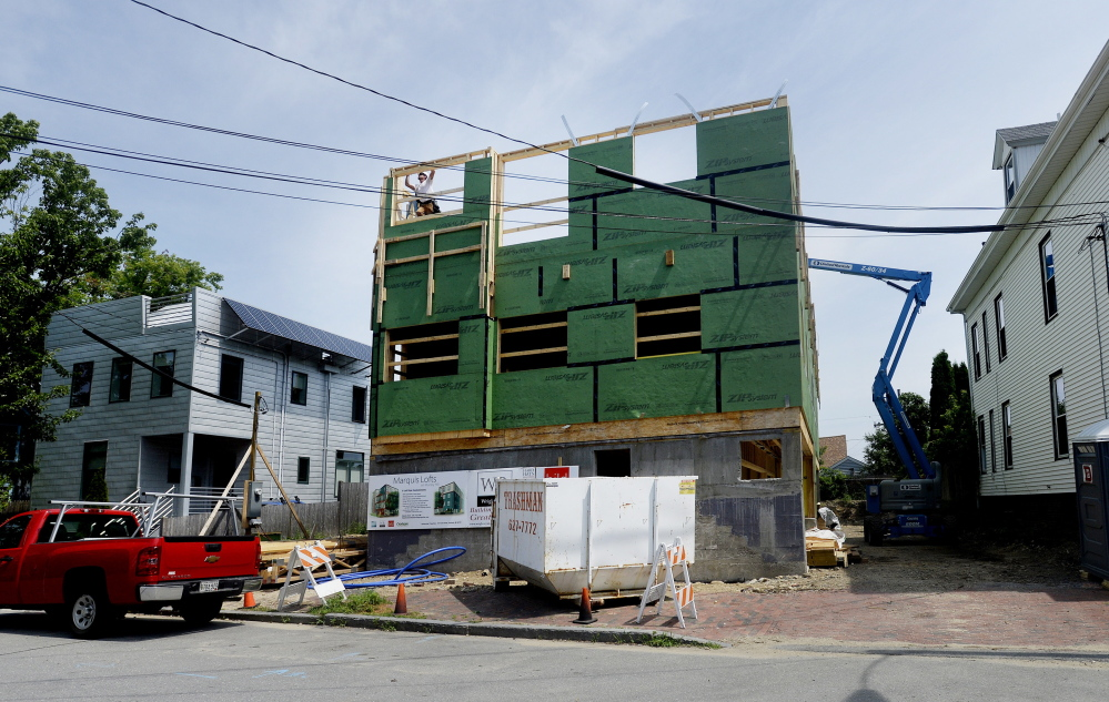 Current projects in Greater Portland include a four-story condominium complex on Munjoy Hill's Lafayette Street called the Marquis Lofts. The building will have six condos and enclosed parking on the first floor.