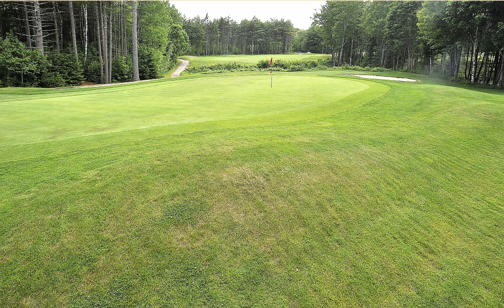 The 13th hole at Nonesuch River, a par 4, includes a green that has a steep drop-off for shots that are too long from the dogleg. The course is in its 18th season.