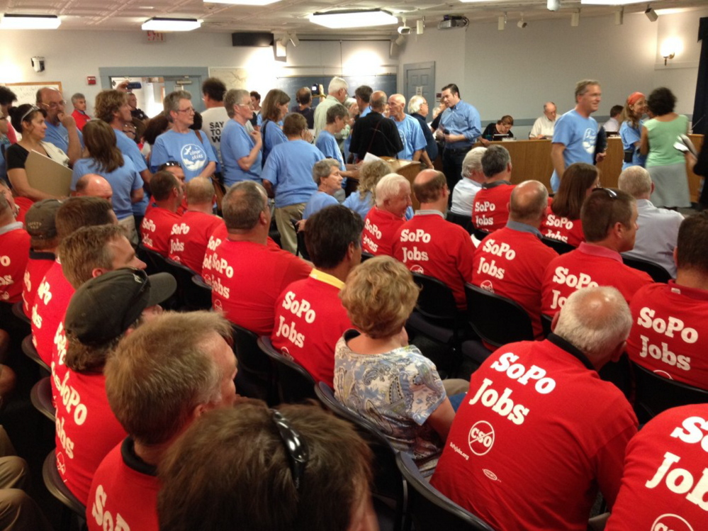 A proposal that would block so-called tar sands oil from being shipped through South Portland drew both supporters and opponents, wearing different colored T-shirts, to Monday's City Council session.