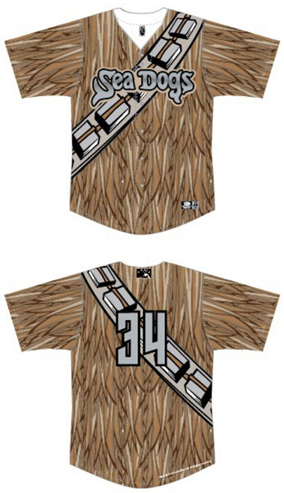 The Sea Dogs wil don Chewbacca jerseys as part of a Star Wars promotion.