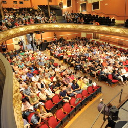 Audience members take their seats for the opening night or the Maine International Film Festival at the Waterville Opera House on Friday.